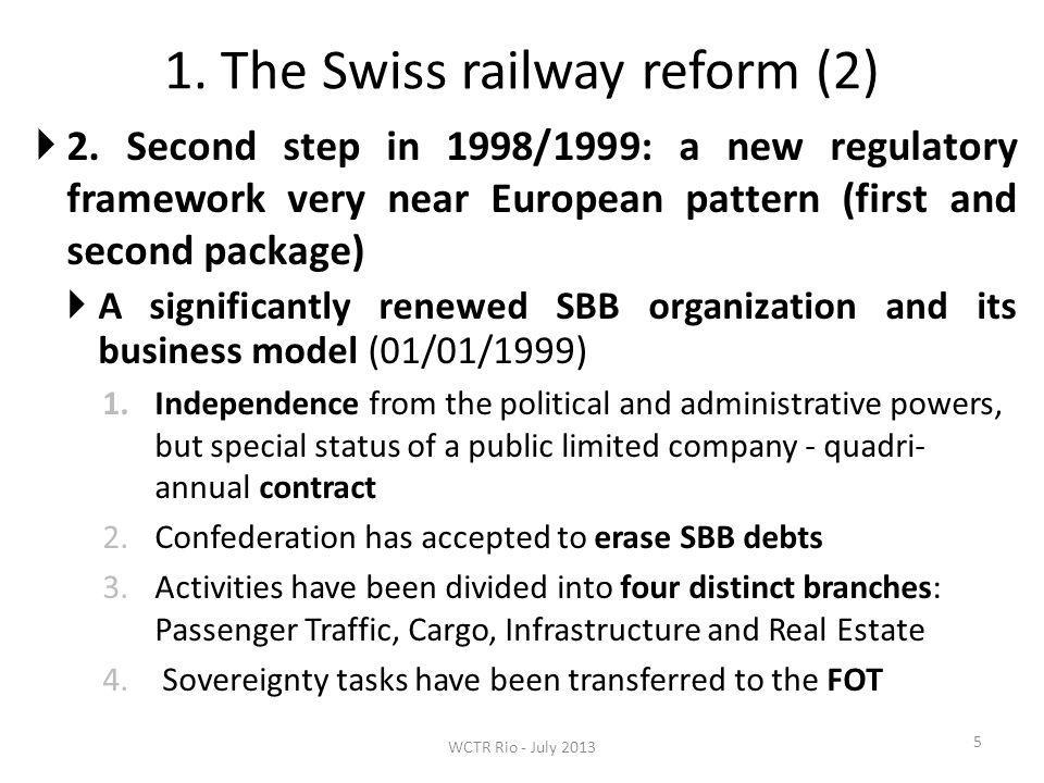 1. The Swiss railway reform (2) 5 2. Second step in 1998/1999: a new regulatory framework very near European pattern (first and second package) A sign