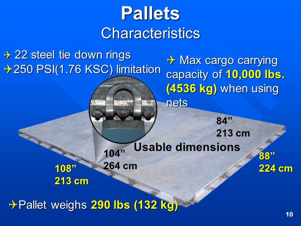 10PalletsCharacteristics 22 steel tie down rings 22 steel tie down rings Pallet weighs 290 lbs (132 kg) Pallet weighs 290 lbs (132 kg) 108 213 cm 88 2
