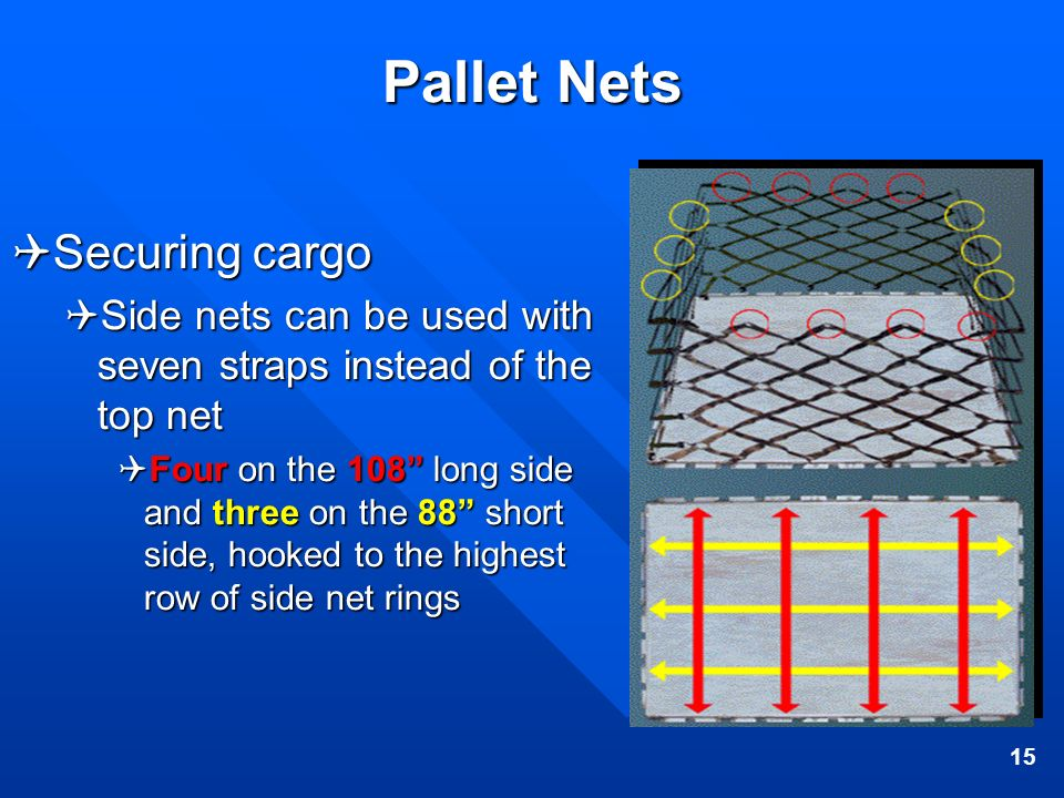 15 Pallet Nets Securing cargo Securing cargo Side nets can be used with seven straps instead of the top net Side nets can be used with seven straps in