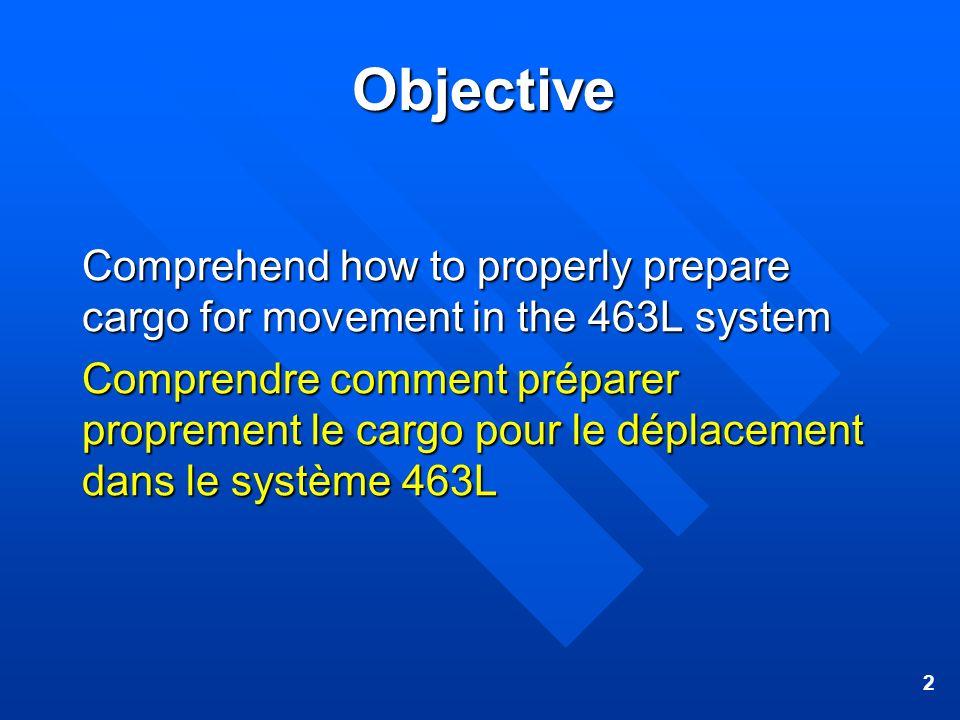 2 Objective Comprehend how to properly prepare cargo for movement in the 463L system Comprendre comment préparer proprement le cargo pour le déplaceme