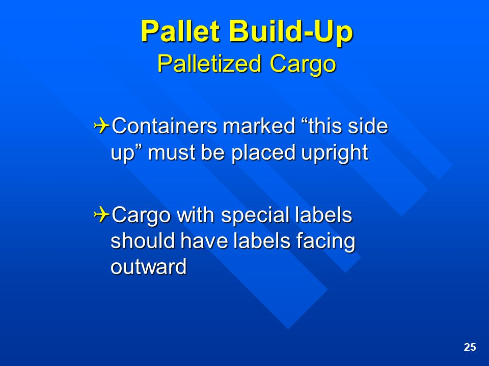 25 Pallet Build-Up Palletized Cargo Containers marked this side up must be placed upright Containers marked this side up must be placed upright Cargo