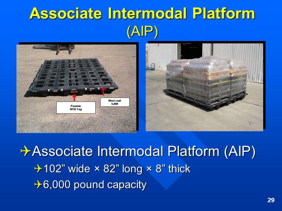 29 Associate Intermodal Platform (AIP) Associate Intermodal Platform (AIP) Associate Intermodal Platform (AIP) 102 wide × 82 long × 8 thick 102 wide ×