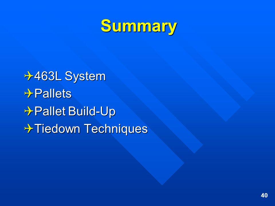 40 Summary 463L System 463L System Pallets Pallets Pallet Build-Up Pallet Build-Up Tiedown Techniques Tiedown Techniques
