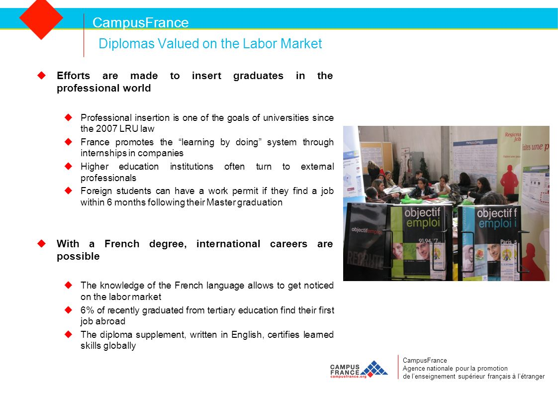 CampusFrance Diplomas Valued on the Labor Market Efforts are made to insert graduates in the professional world Professional insertion is one of the goals of universities since the 2007 LRU law France promotes the learning by doing system through internships in companies Higher education institutions often turn to external professionals Foreign students can have a work permit if they find a job within 6 months following their Master graduation With a French degree, international careers are possible The knowledge of the French language allows to get noticed on the labor market 6% of recently graduated from tertiary education find their first job abroad The diploma supplement, written in English, certifies learned skills globally CampusFrance Agence nationale pour la promotion de lenseignement supérieur français à létranger