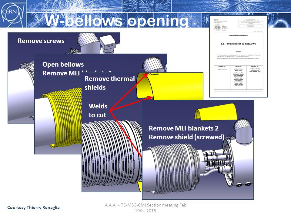 W-bellows opening Remove screws Open bellows Remove MLI blankets 1 Welds to cut Remove thermal shields Remove MLI blankets 2 Remove shield (screwed) Courtesy Thierry Renaglia A.A.A.