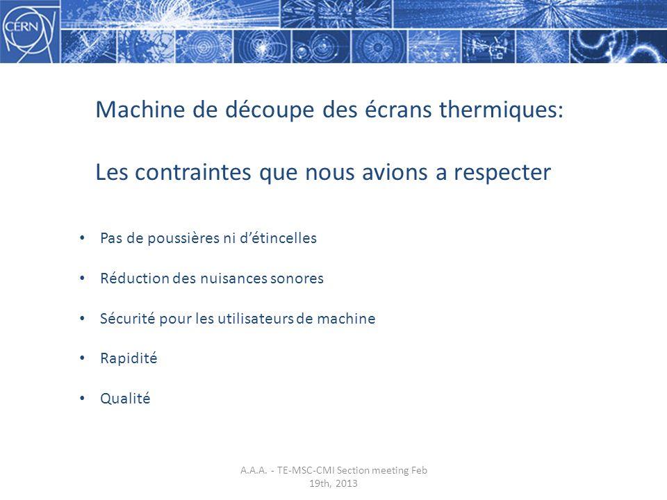 Machine de découpe des écrans thermiques: Les contraintes que nous avions a respecter Pas de poussières ni détincelles Réduction des nuisances sonores Sécurité pour les utilisateurs de machine Rapidité Qualité A.A.A.