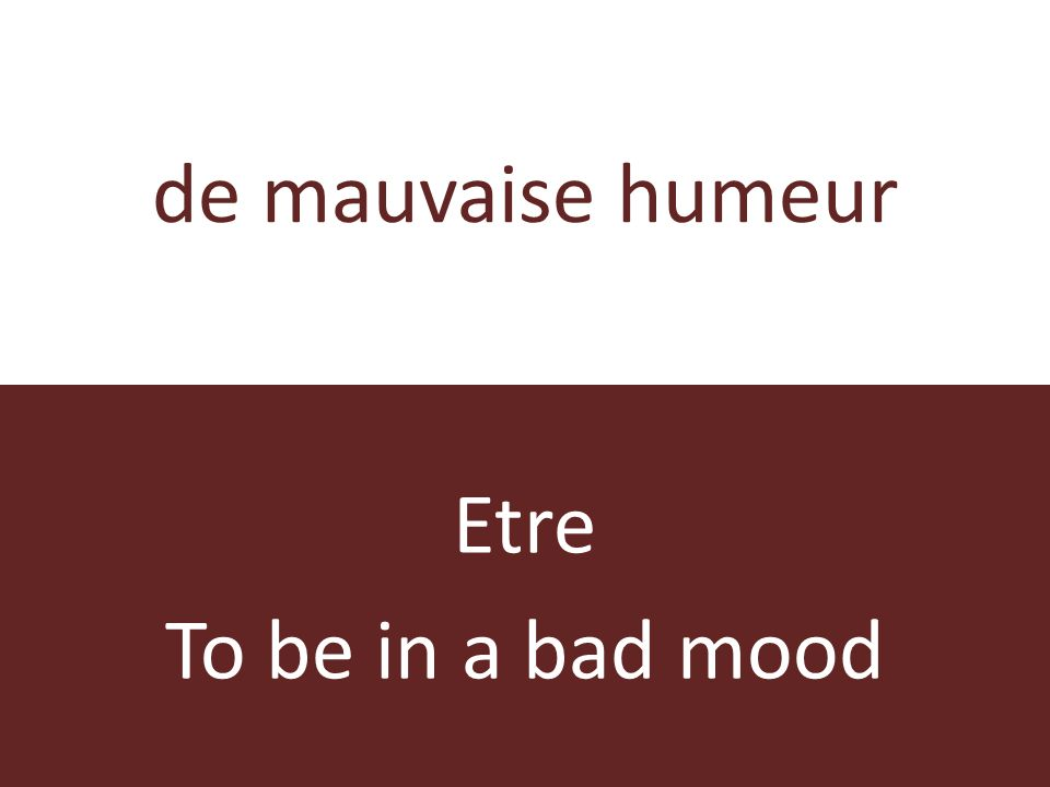 de mauvaise humeur Etre To be in a bad mood