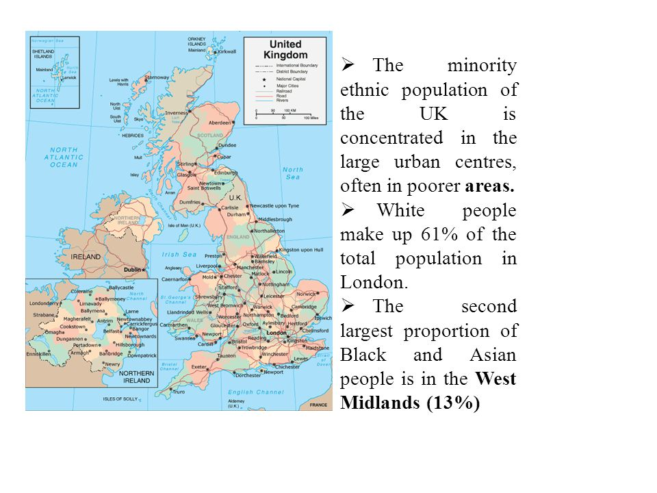 The minority ethnic population of the UK is concentrated in the large urban centres, often in poorer areas.