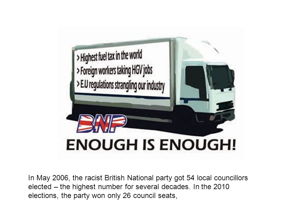 In May 2006, the racist British National party got 54 local councillors elected – the highest number for several decades.