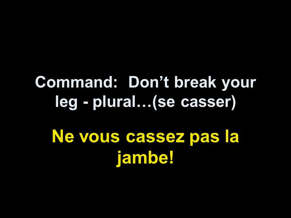 Command: Dont break your leg - plural…(se casser) Ne vous cassez pas la jambe!