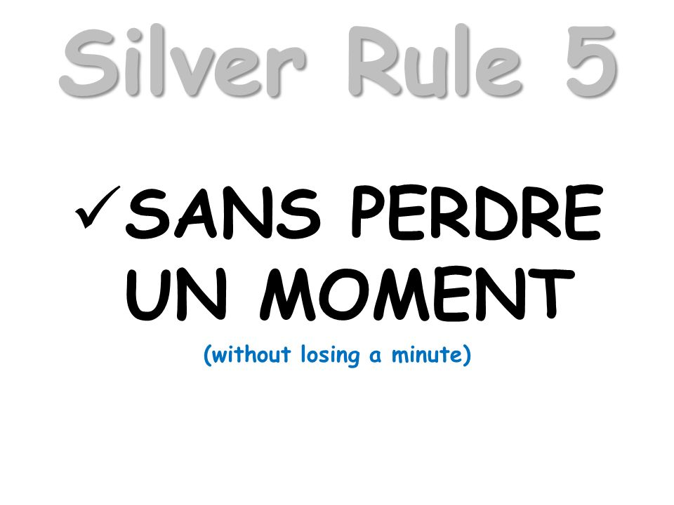 Silver Rule 5 SANS PERDRE UN MOMENT (without losing a minute)