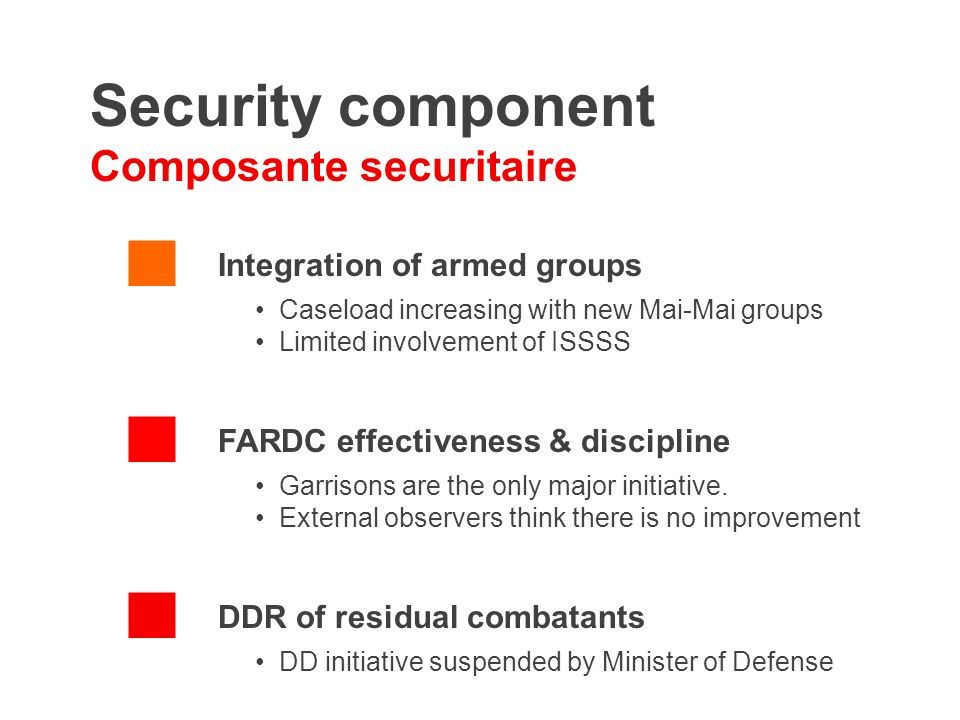 Security component Composante securitaire Integration of armed groups Caseload increasing with new Mai-Mai groups Limited involvement of ISSSS FARDC effectiveness & discipline Garrisons are the only major initiative.