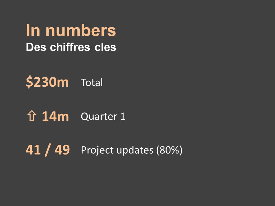 In numbers Des chiffres cles $230m Total 14m Quarter 1 41 / 49 Project updates (80%)