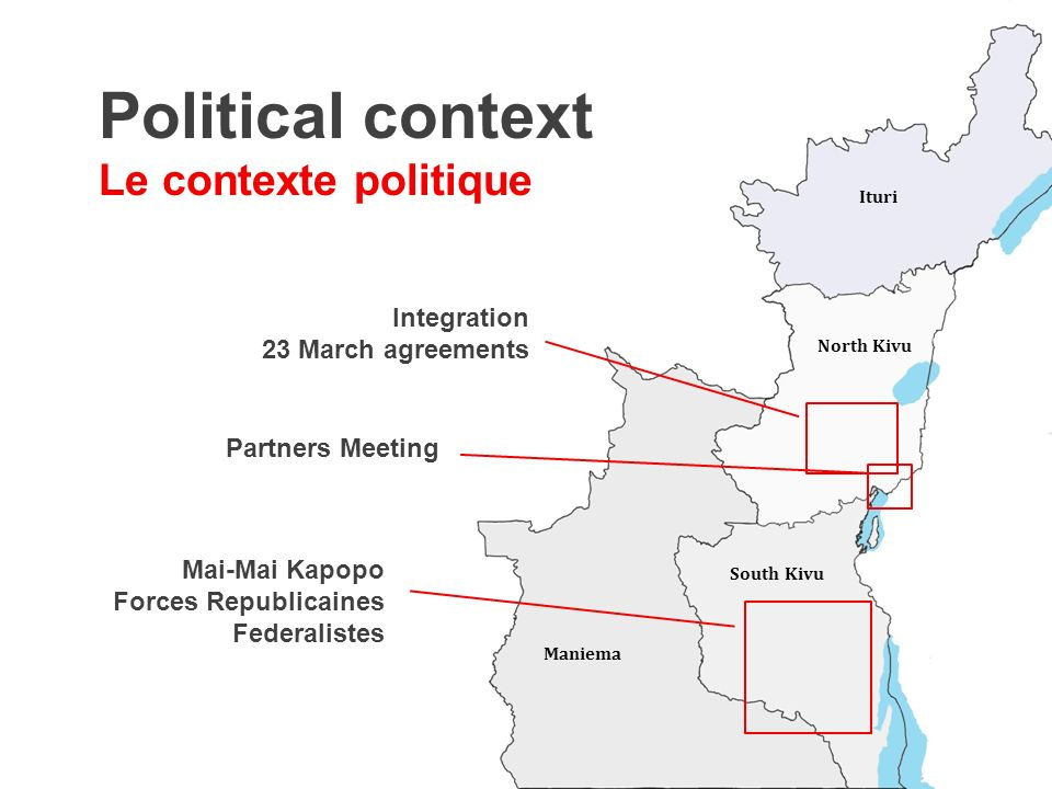 Integration 23 March agreements North Kivu Ituri South Kivu Political context Le contexte politique Maniema Mai-Mai Kapopo Forces Republicaines Federalistes Partners Meeting