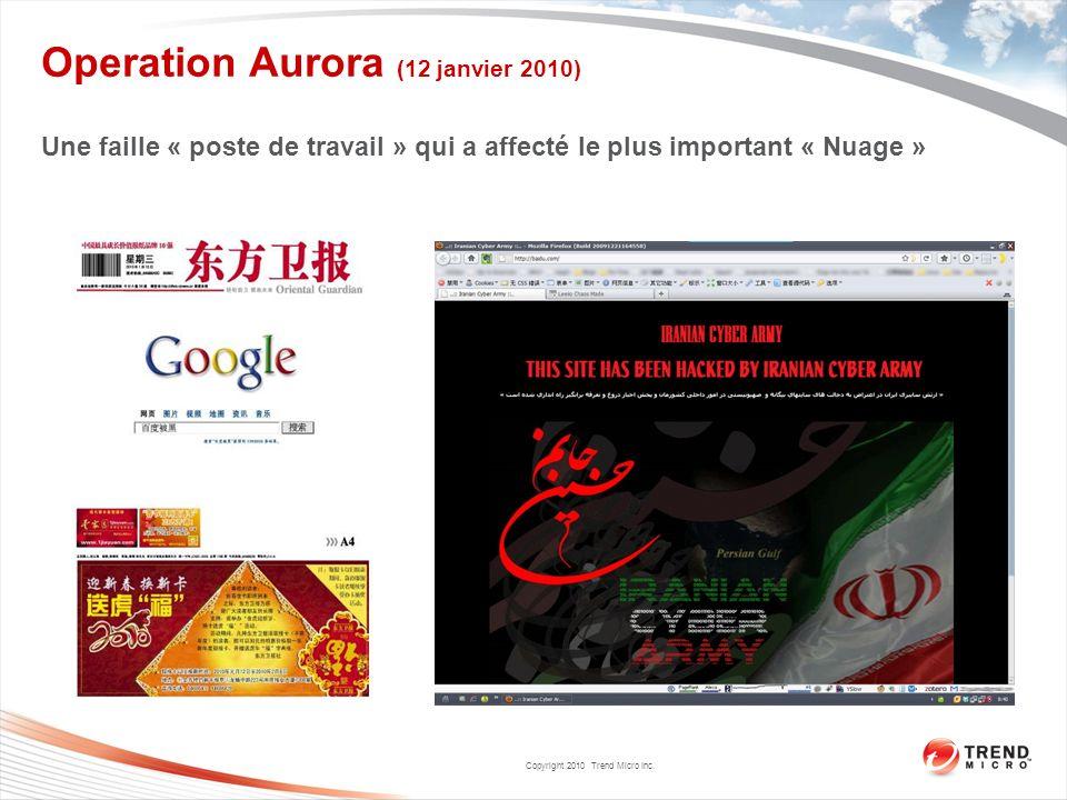 Copyright 2010 Trend Micro Inc. Operation Aurora (12 janvier 2010) Une faille « poste de travail » qui a affecté le plus important « Nuage »