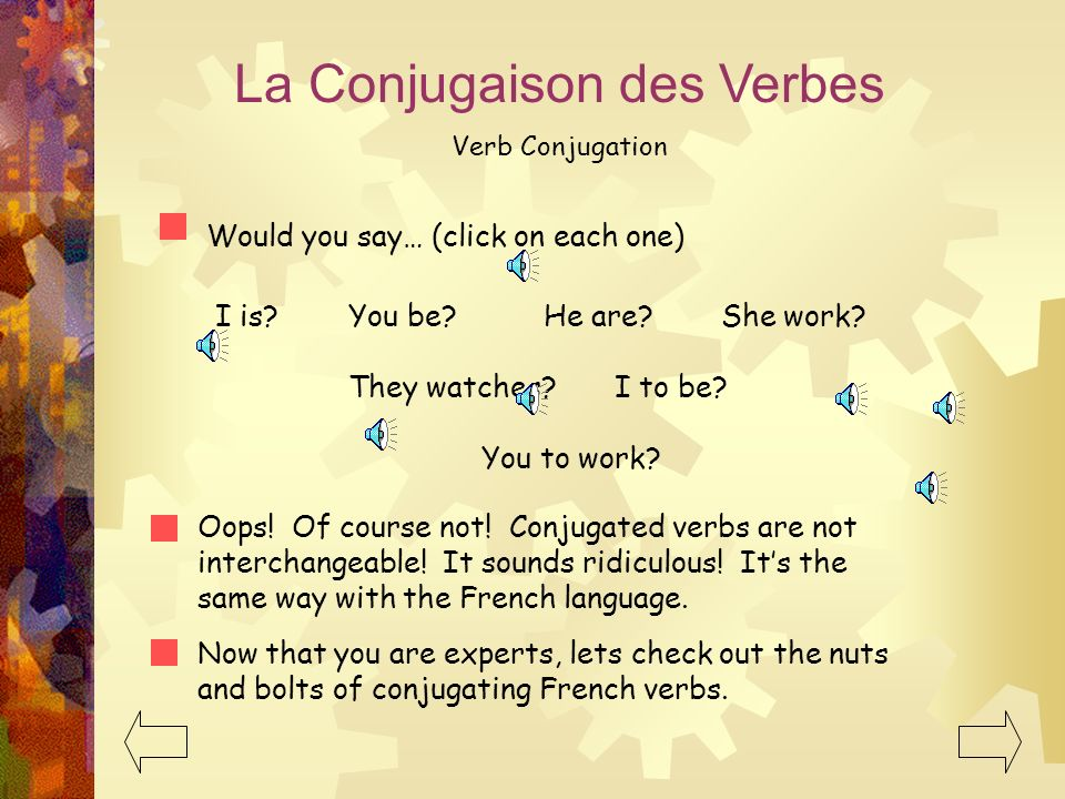 La Conjugaison des Verbes Verb Conjugation Here are a few verbs to try. Remember to use the present tense! to watch I watch We watch You watch You (pl