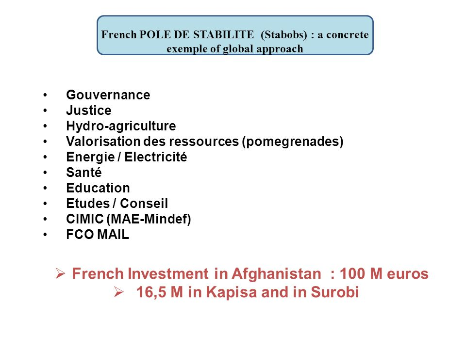 French POLE DE STABILITE (Stabobs) : a concrete exemple of global approach Gouvernance Justice Hydro-agriculture Valorisation des ressources (pomegrenades) Energie / Electricité Santé Education Etudes / Conseil CIMIC (MAE-Mindef) FCO MAIL French Investment in Afghanistan : 100 M euros 16,5 M in Kapisa and in Surobi