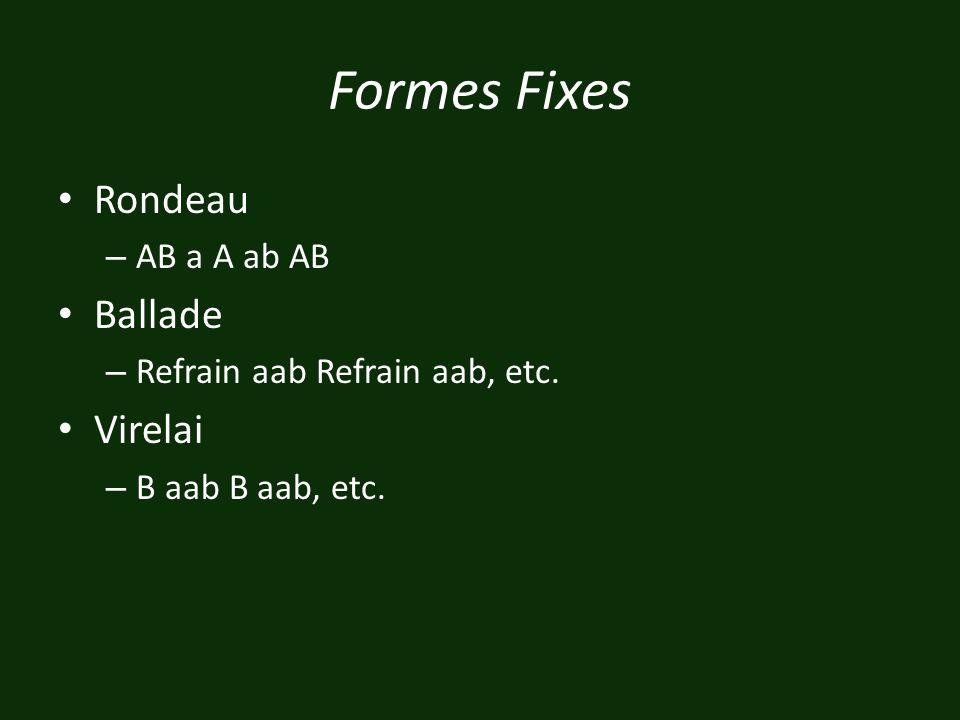 Formes Fixes Rondeau – AB a A ab AB Ballade – Refrain aab Refrain aab, etc. Virelai – B aab B aab, etc.
