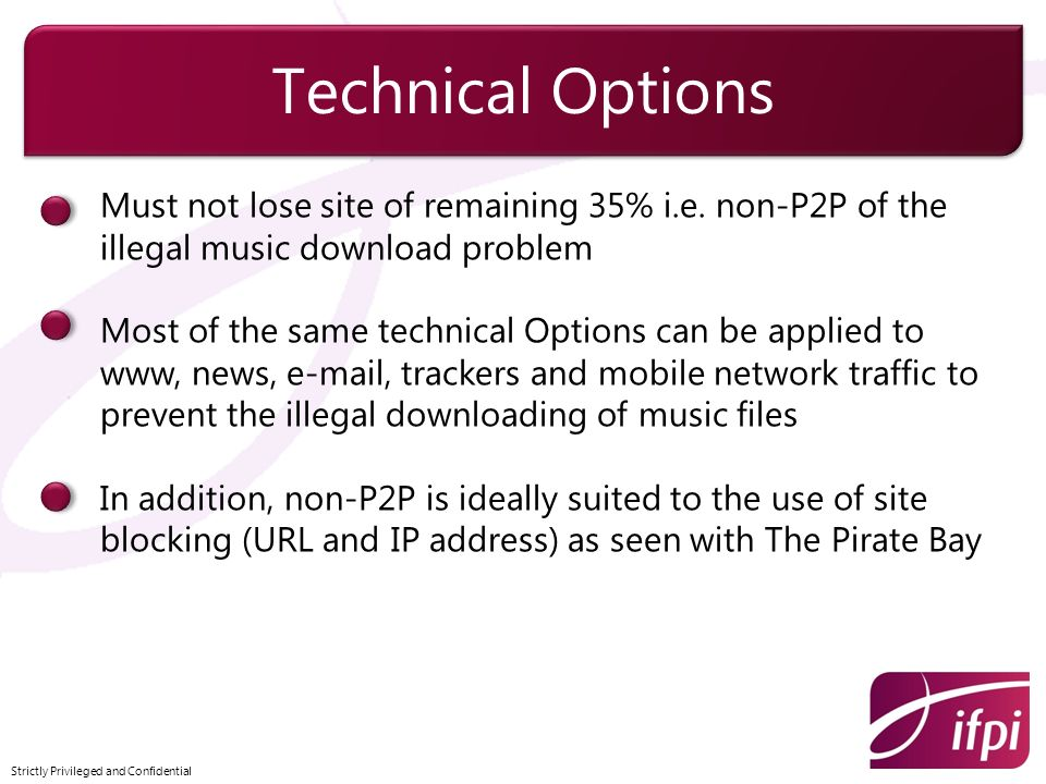 Must not lose site of remaining 35% i.e. non-P2P of the illegal music download problem Most of the same technical Options can be applied to www, news,