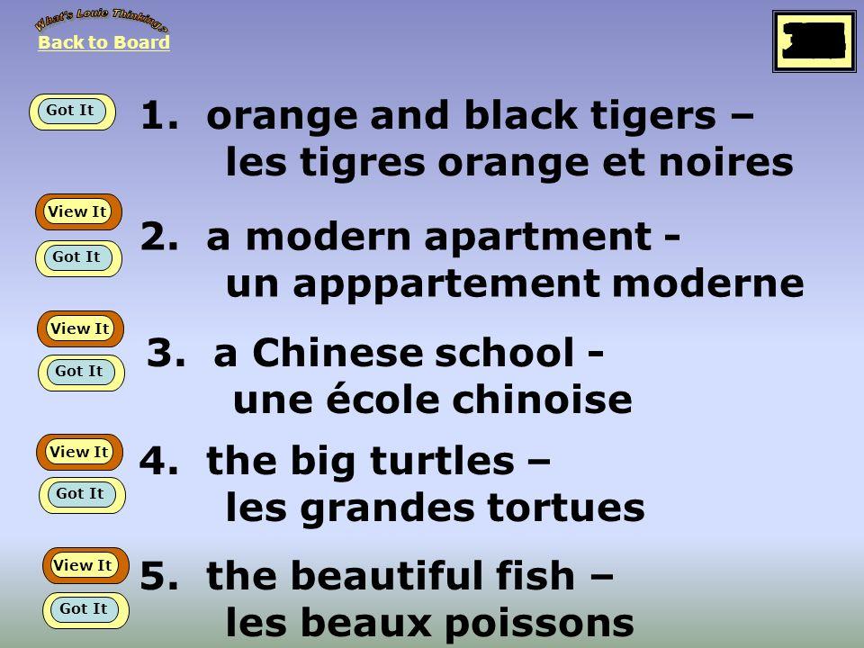 1.orange and black tigers – les tigres orange et noires 2.