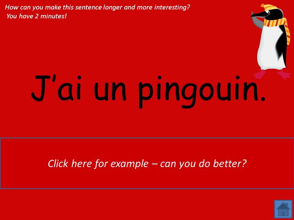 Jai un pingouin.Jai un grand pingouin noir et blanc, qui sappelle Pigloo.