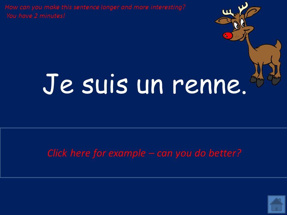 Je suis un renne.Je suis un grand renne marron avec un grand nez rouge.
