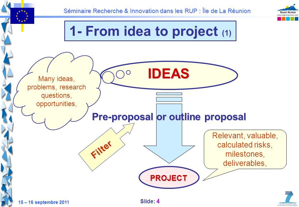 Slide: 5 Séminaire Recherche & Innovation dans les RUP : Île de La Réunion 15 – 16 septembre 2011 1- From idea to project (2) Looking for partners 2 - Thematic NCP Networks Cf.