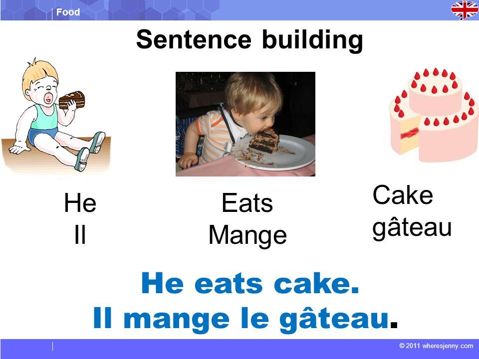 Food © 2011 wheresjenny.com Sentence building He eats cake.