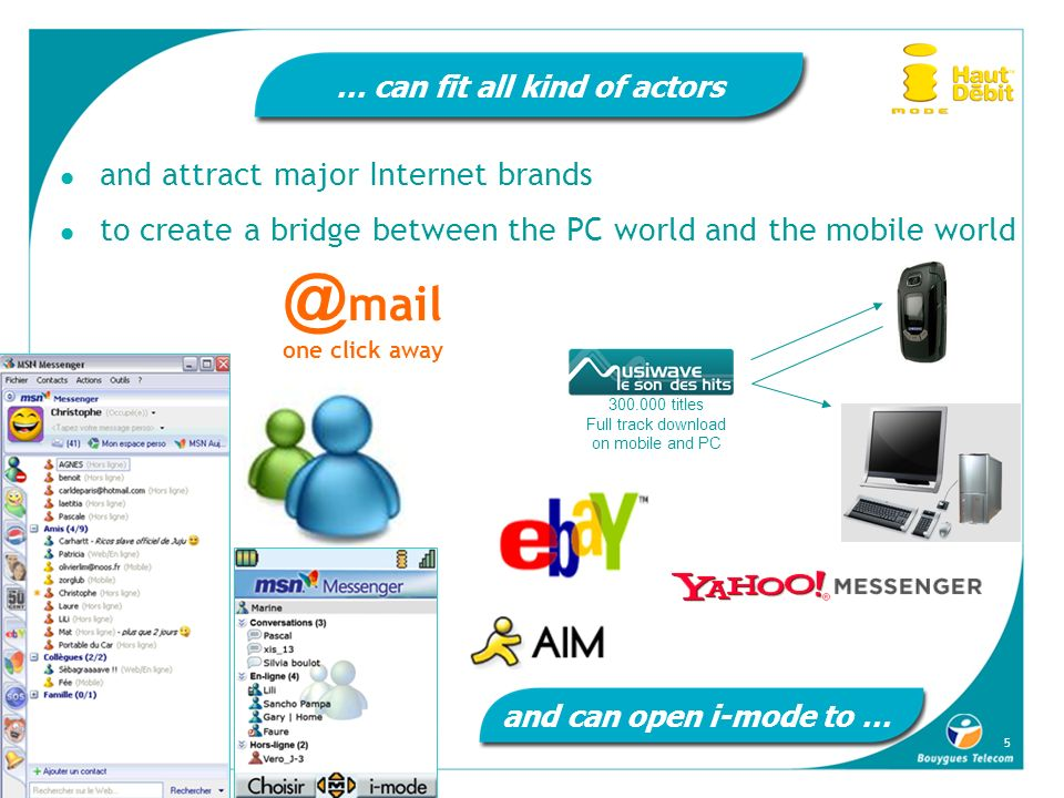 5 … can fit all kind of actors and attract major Internet brands to create a bridge between the PC world and the mobile world 21,7% @ mail one click a