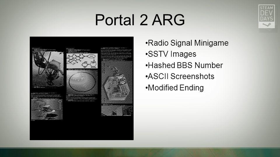 Portal 2 ARG Radio Signal Minigame SSTV Images Hashed BBS Number ASCII Screenshots Modified Ending