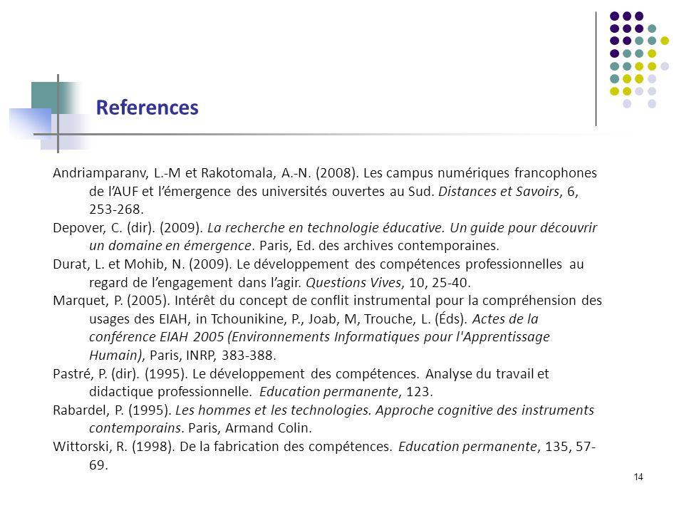 14 References Andriamparanv, L.-M et Rakotomala, A.-N.