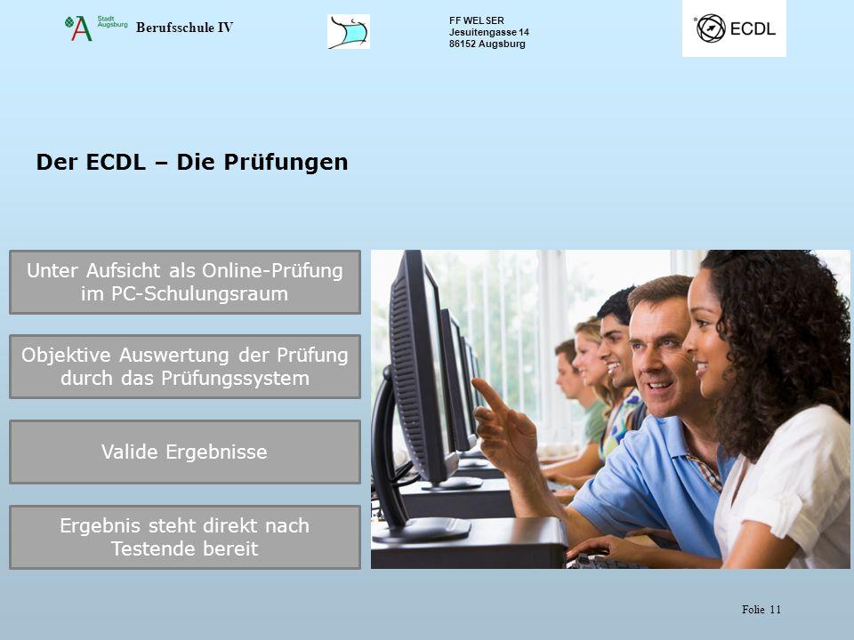 Berufsschule IV FF WELSER Jesuitengasse 14 86152 Augsburg Folie 11 Der ECDL – Die Prüfungen Unter Aufsicht als Online-Prüfung im PC-Schulungsraum Obje