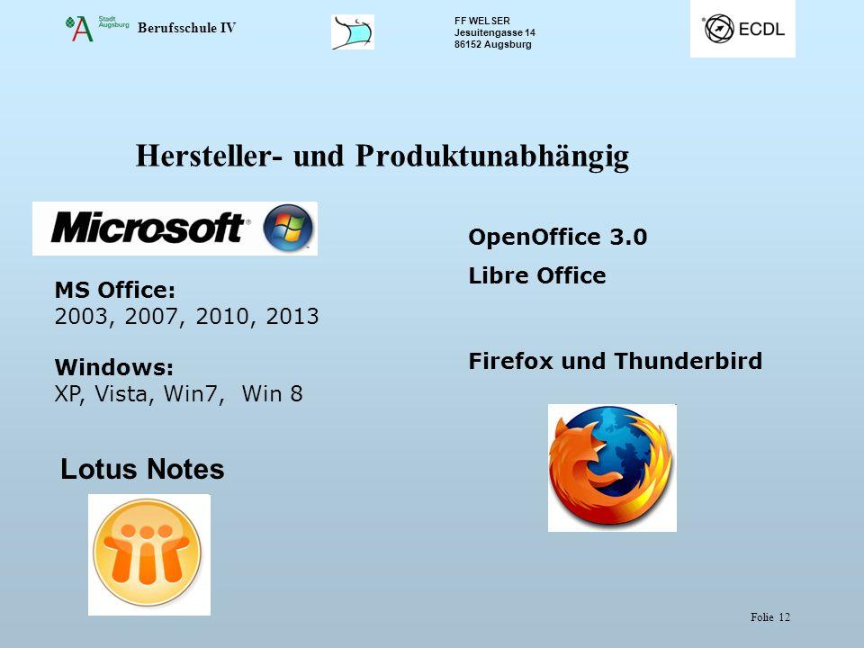 Berufsschule IV FF WELSER Jesuitengasse 14 86152 Augsburg Folie 12 Hersteller- und Produktunabhängig MS Office: 2003, 2007, 2010, 2013 Windows: XP, Vi