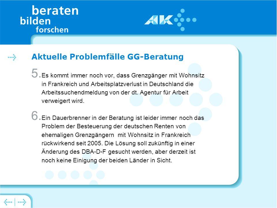 Aktuelle Problemfälle GG-Beratung 5.