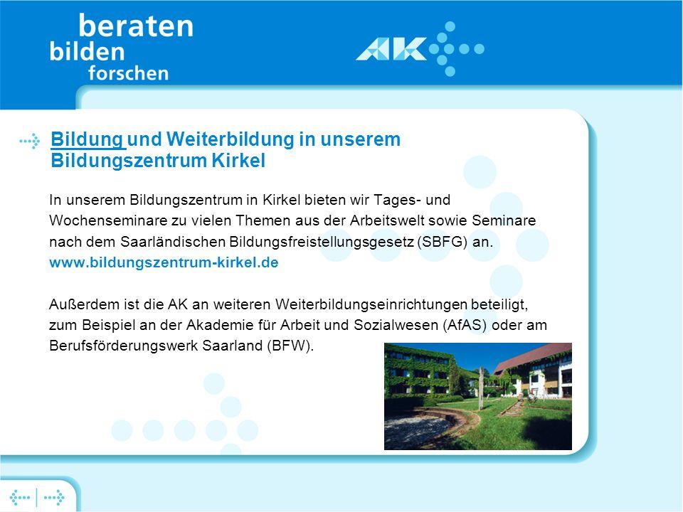 In unserem Bildungszentrum in Kirkel bieten wir Tages- und Wochenseminare zu vielen Themen aus der Arbeitswelt sowie Seminare nach dem Saarländischen Bildungsfreistellungsgesetz (SBFG) an.