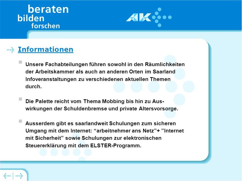 Unsere Fachabteilungen führen sowohl in den Räumlichkeiten der Arbeitskammer als auch an anderen Orten im Saarland Infoveranstaltungen zu verschiedenen aktuellen Themen durch.