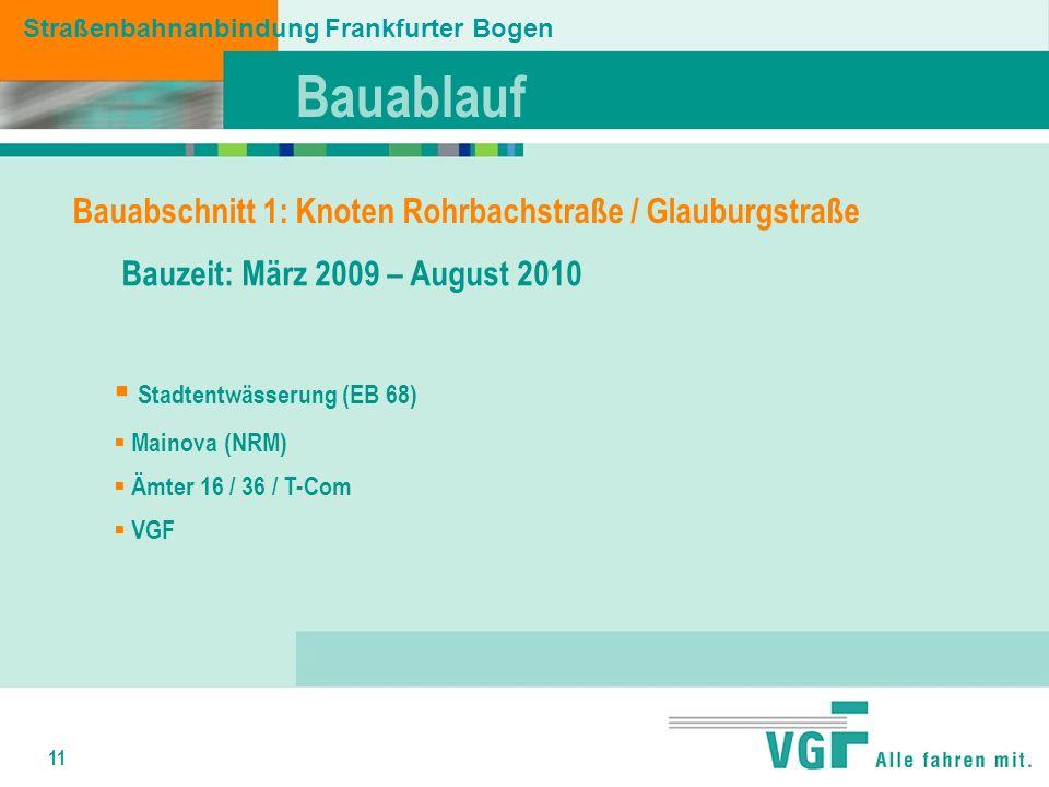 11 Bauablauf Straßenbahnanbindung Frankfurter Bogen Bauabschnitt 1: Knoten Rohrbachstraße / Glauburgstraße Bauzeit: März 2009 – August 2010 Stadtentwässerung (EB 68) Mainova (NRM) Ämter 16 / 36 / T-Com VGF