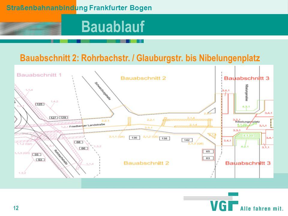 12 Bauablauf Straßenbahnanbindung Frankfurter Bogen Bauabschnitt 2: Rohrbachstr.