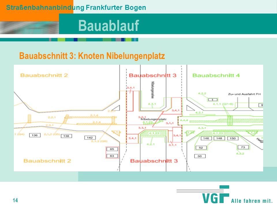 14 Bauablauf Straßenbahnanbindung Frankfurter Bogen Bauabschnitt 3: Knoten Nibelungenplatz