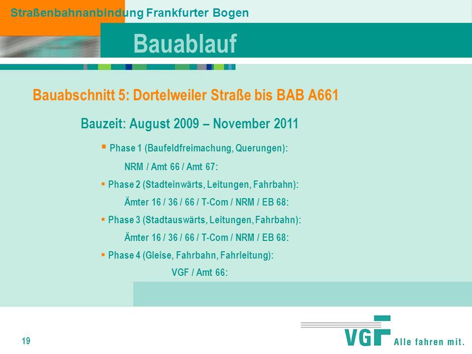 19 Bauzeit: August 2009 – November 2011 Phase 1 (Baufeldfreimachung, Querungen): NRM / Amt 66 / Amt 67: Phase 2 (Stadteinwärts, Leitungen, Fahrbahn): Ämter 16 / 36 / 66 / T-Com / NRM / EB 68: Phase 3 (Stadtauswärts, Leitungen, Fahrbahn): Ämter 16 / 36 / 66 / T-Com / NRM / EB 68: Phase 4 (Gleise, Fahrbahn, Fahrleitung): VGF / Amt 66: Straßenbahnanbindung Frankfurter Bogen Bauabschnitt 5: Dortelweiler Straße bis BAB A661 Bauablauf