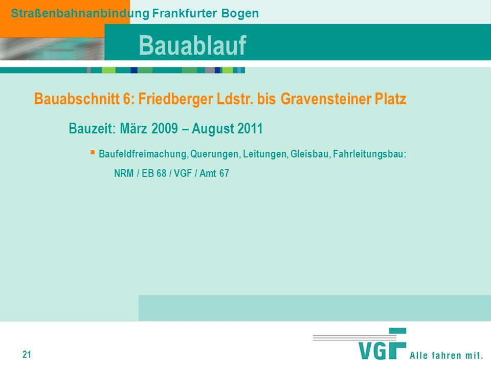 21 Straßenbahnanbindung Frankfurter Bogen Bauabschnitt 6: Friedberger Ldstr.