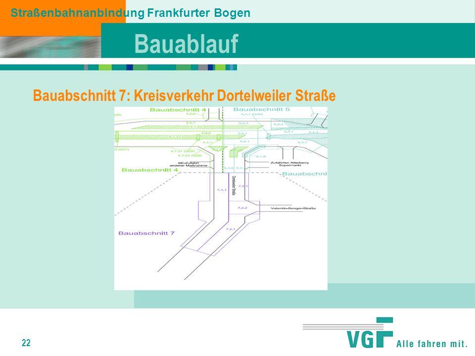 22 Bauablauf Straßenbahnanbindung Frankfurter Bogen Bauabschnitt 7: Kreisverkehr Dortelweiler Straße