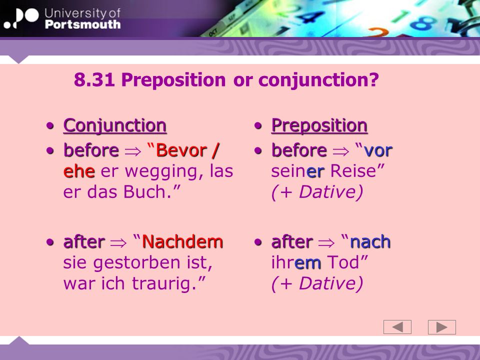 8.31 Preposition or conjunction.