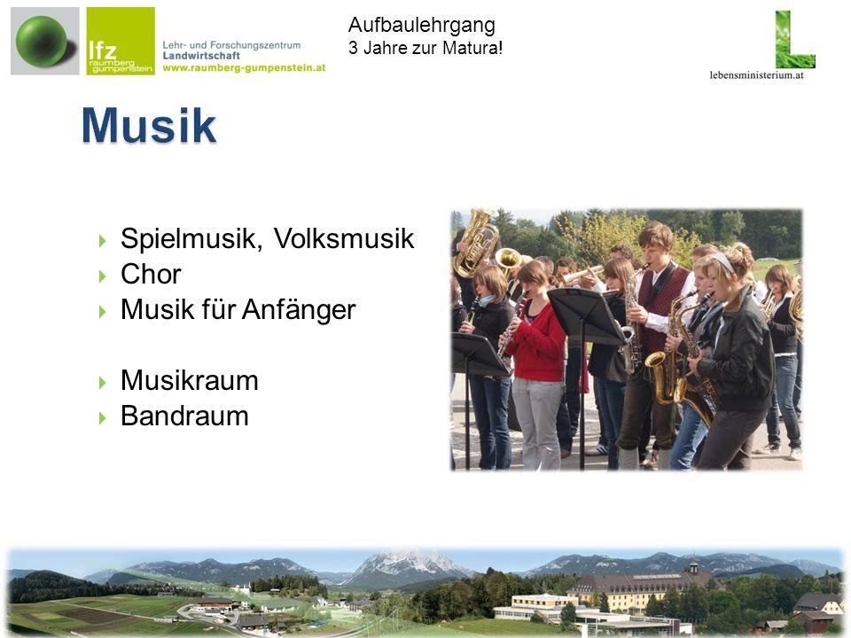 Aufbaulehrgang 3 Jahre zur Matura! Spielmusik, Volksmusik Chor Musik für Anfänger Musikraum Bandraum