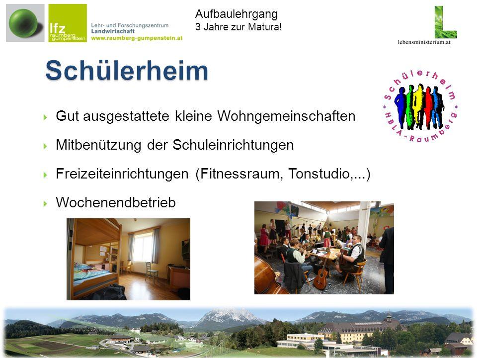 Aufbaulehrgang 3 Jahre zur Matura! Gut ausgestattete kleine Wohngemeinschaften Mitbenützung der Schuleinrichtungen Freizeiteinrichtungen (Fitnessraum,