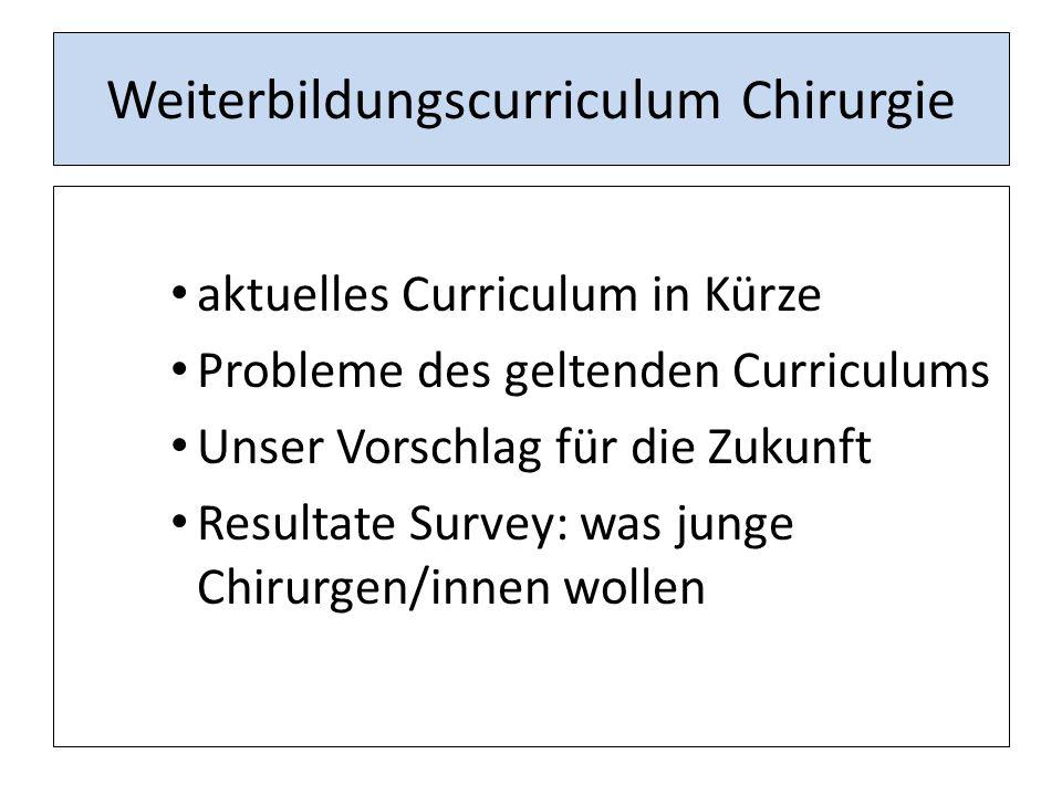 Weiterbildungscurriculum Chirurgie aktuelles Curriculum in Kürze Probleme des geltenden Curriculums Unser Vorschlag für die Zukunft Resultate Survey: was junge Chirurgen/innen wollen