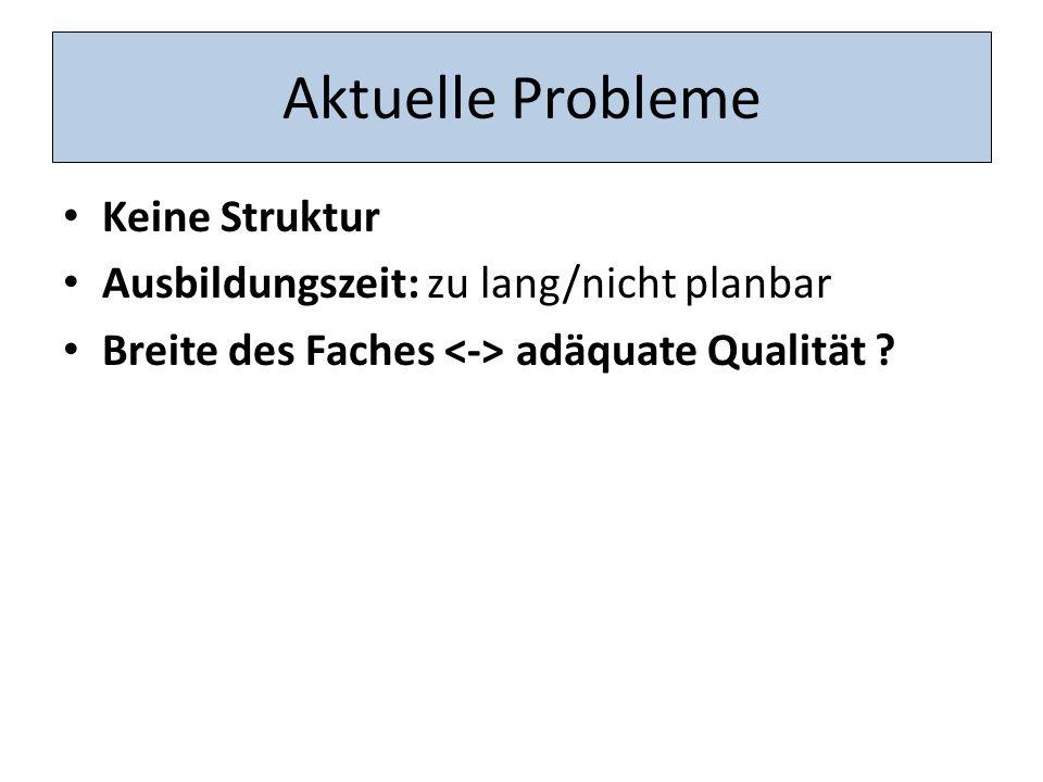 Aktuelle Probleme Keine Struktur Ausbildungszeit: zu lang/nicht planbar Breite des Faches adäquate Qualität