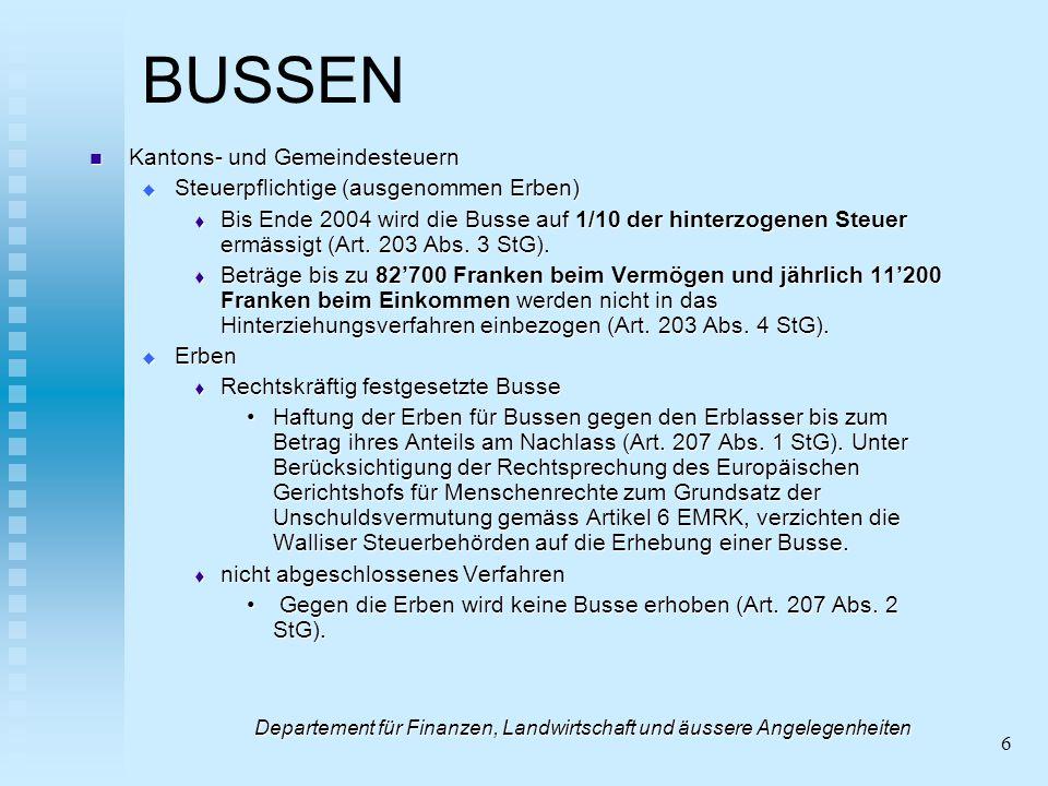 6 BUSSEN Kantons- und Gemeindesteuern Kantons- und Gemeindesteuern Steuerpflichtige (ausgenommen Erben) Steuerpflichtige (ausgenommen Erben) Bis Ende 2004 wird die Busse auf 1/10 der hinterzogenen Steuer ermässigt (Art.