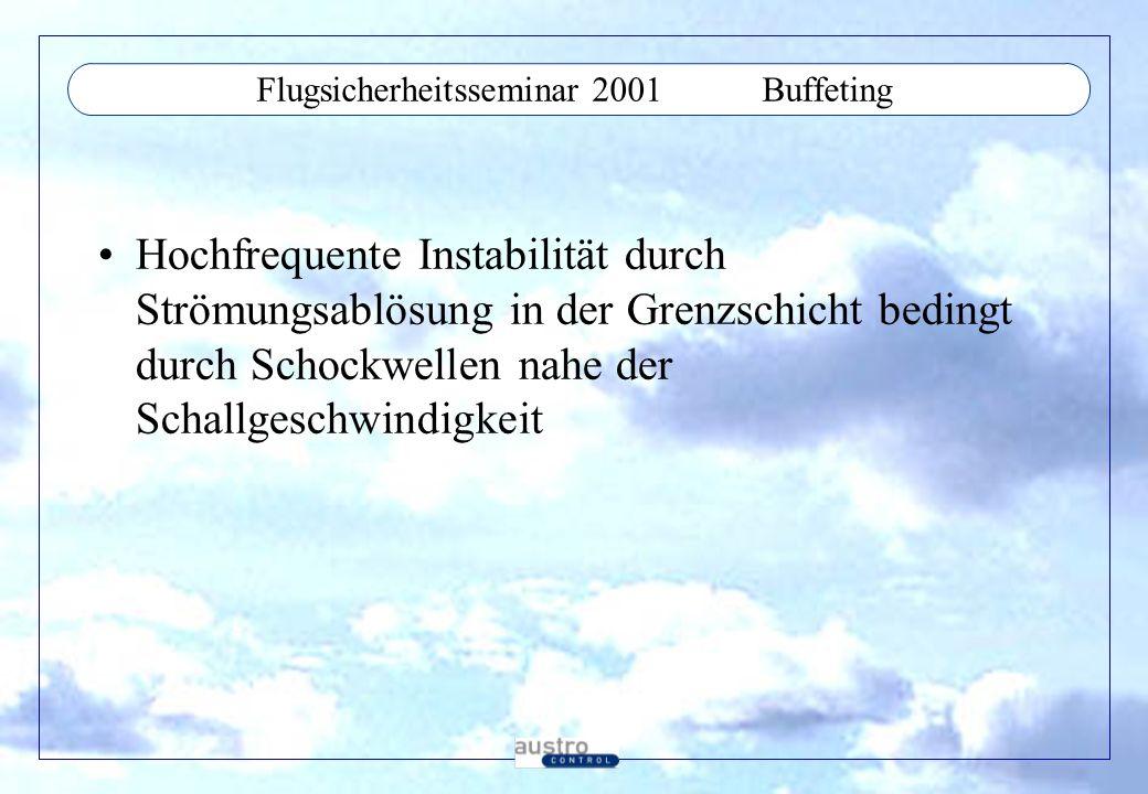 Flugsicherheitsseminar 2001Buffeting Hochfrequente Instabilität durch Strömungsablösung in der Grenzschicht bedingt durch Schockwellen nahe der Schallgeschwindigkeit