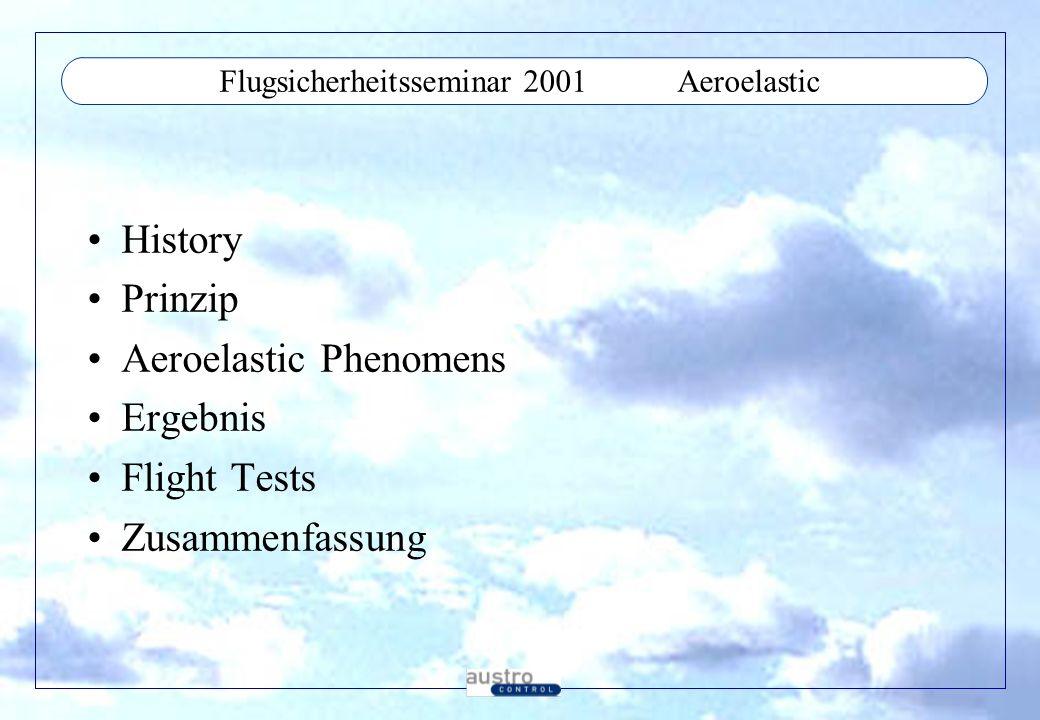 Flugsicherheitsseminar 2001Aeroelastic History Prinzip Aeroelastic Phenomens Ergebnis Flight Tests Zusammenfassung